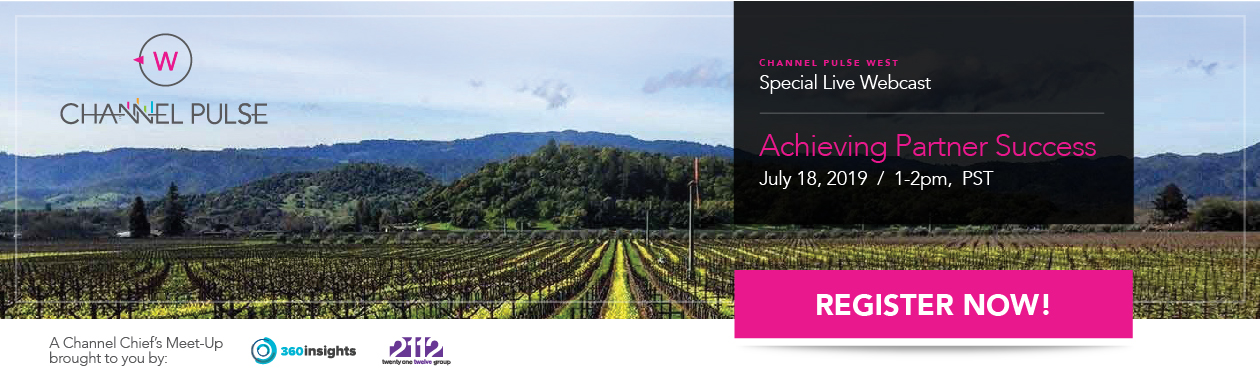 Scenic Napa Valley photograph overlaid with webinar event title: Achieving Partner Success